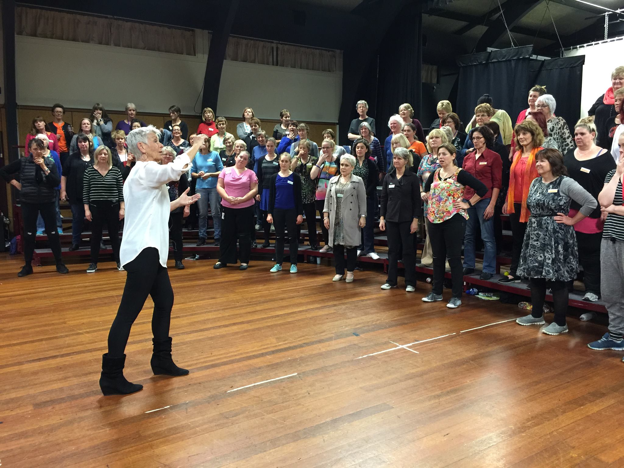 Christchurch City Chorus being coaching by Britt-Helene